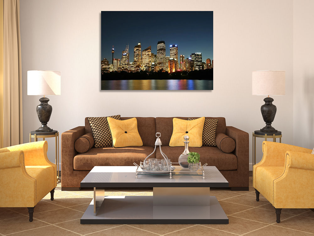 Skyscrapers Night Photography Canvas Print