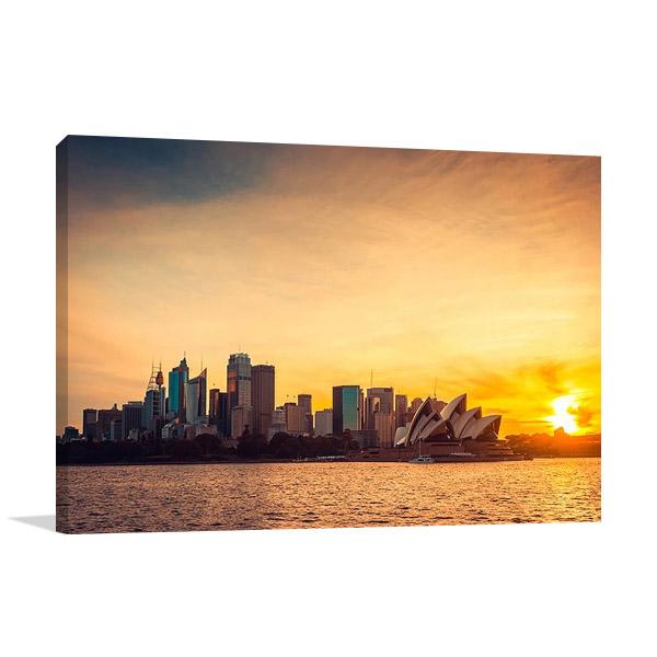 Sydney City Sunset Print Canvas