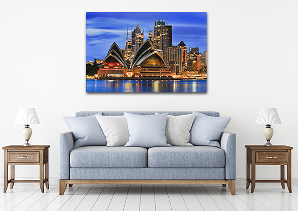Sydney Waterfront Art Print on the wall