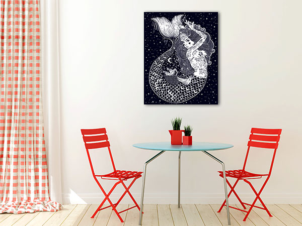 Tattoed Mermaid Canvas Art