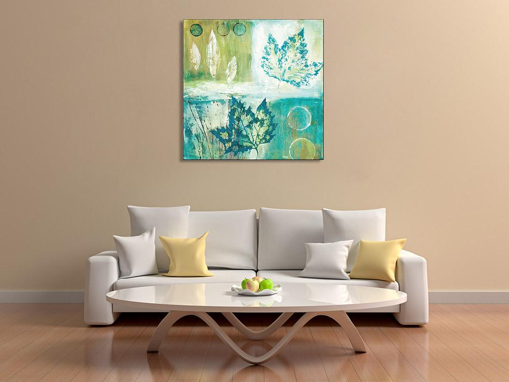 Blue Leaves Print on Canvas