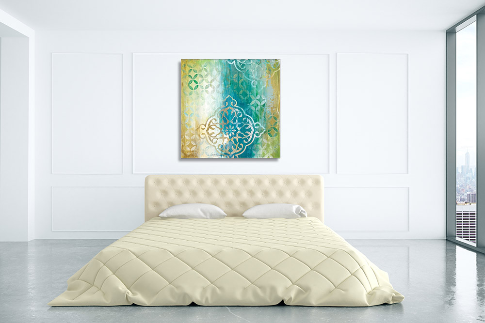 Blue Shapes Abstract Canvas Print