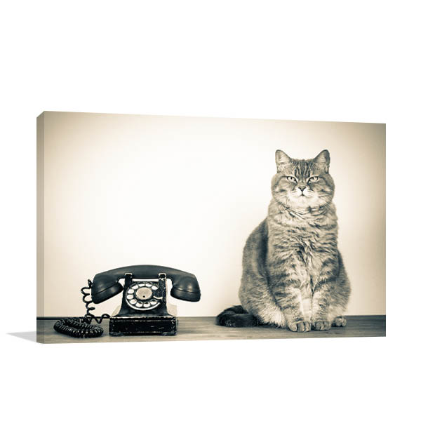 Telephone and Cat Canvas Art Prints