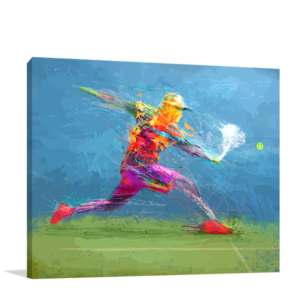 Tennis Player in Abstract Artwork
