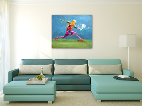 Tennis Player in Abstract Art Prints