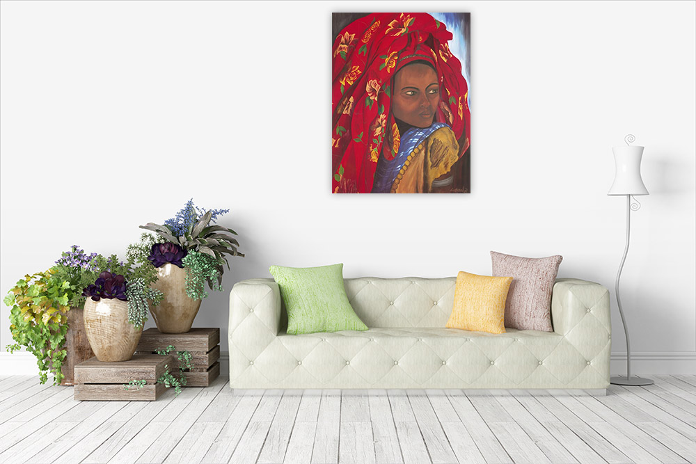 Red African Fashion Canvas Art