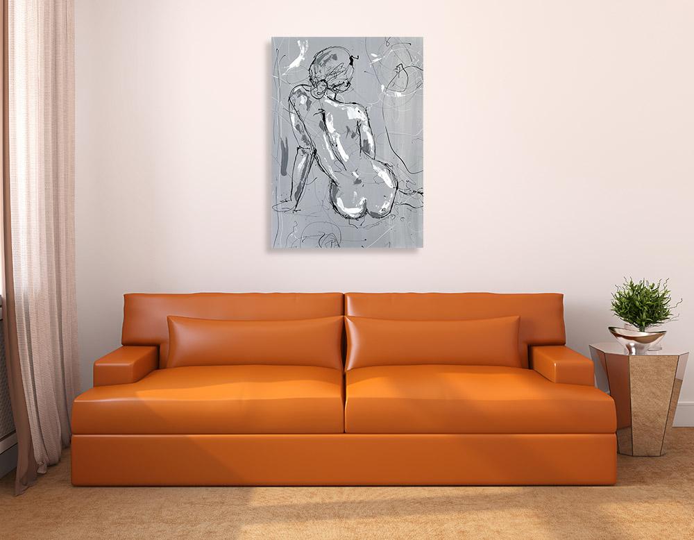 Figurative Grey Print on Canvas