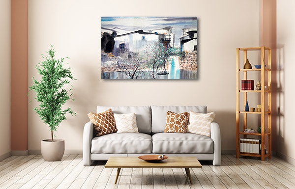 Traditional House and River Prints Canvas