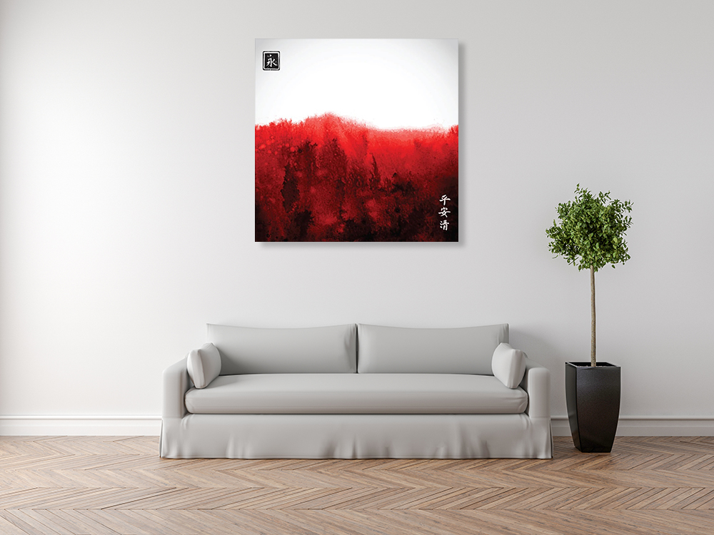 Square Red Print on Canvas