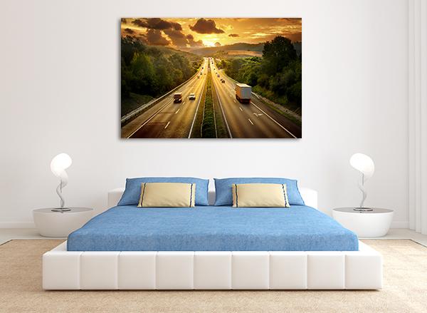 Traffic Sunset Art Print on the wall