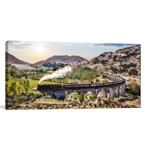 Train Landscape Canvas Art Print
