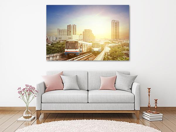 Train Sunset Canvas Art Print on the wall