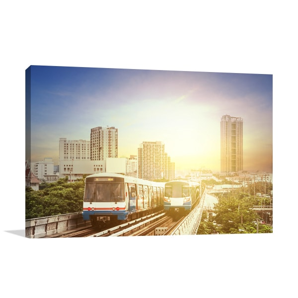 Train Sunset Canvas Art Print
