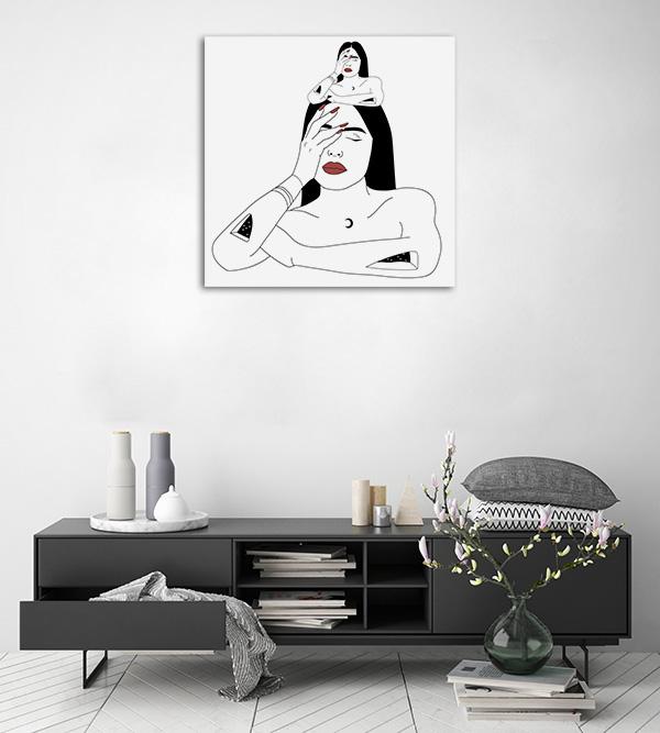 Transformation Art Woman Line Artwork Canvas