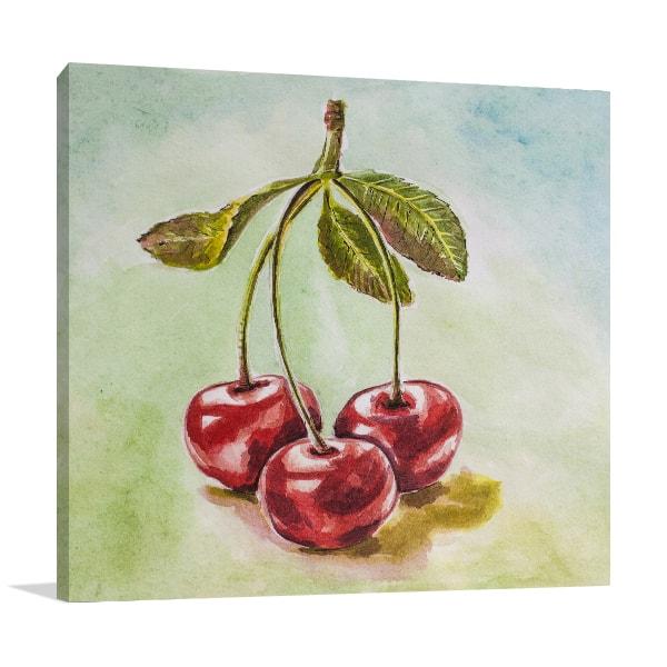 Tripled Cherry Canvas Art Print