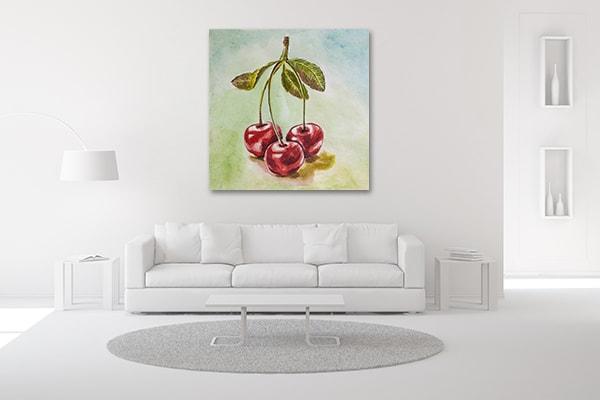 Tripled Cherry Wall Art Print on the Wall