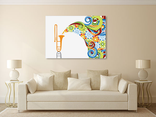 Trombone In Abstract Prints Canvas
