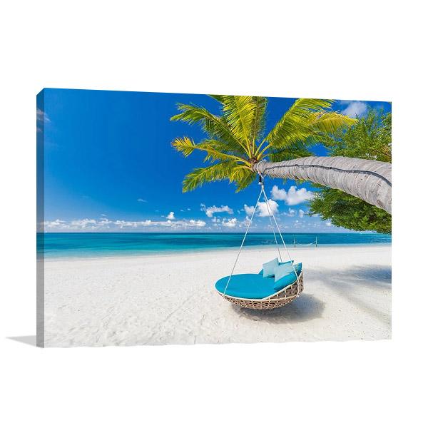 Tropical Beach Getaway Print Canvas