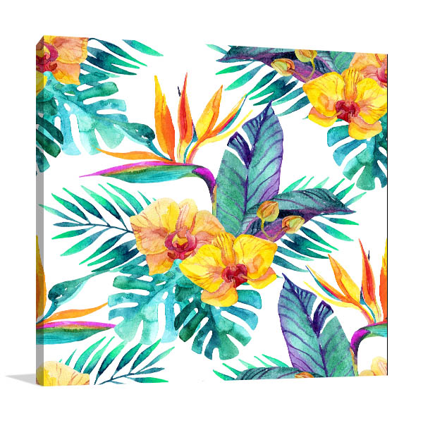 Tropical Leaves And Flowers Art Prints