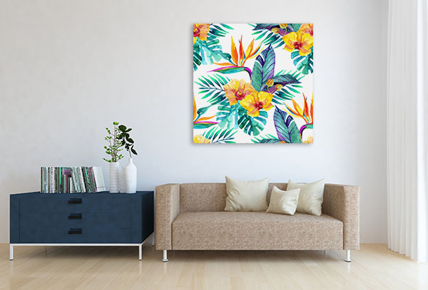 Tropical Leaves And Flowers Print Artwork