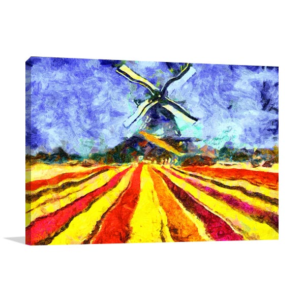 Tulips and Windmill Art Prints