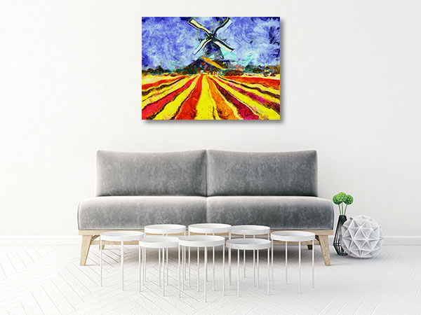 Tulips and Windmill Canvas Art Prints