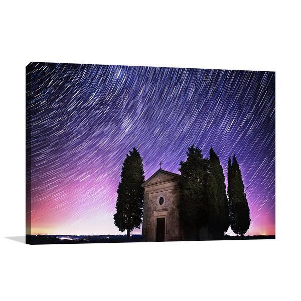 Tuscany Sky Star Trails Print on Canvas