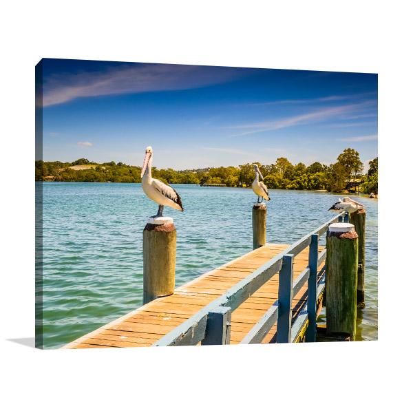 Tweeds Head Canvas Print Pelicans on Pier