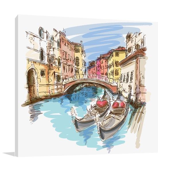 Two Gondolas Canvas Art Print