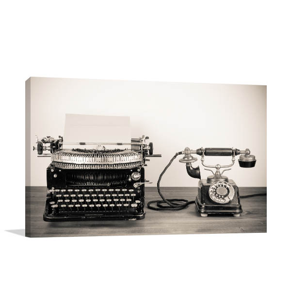 Typewriter and Telephone Prints Canvas