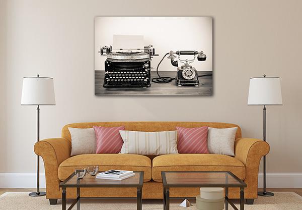 Typewriter and Telephone Print Artwork