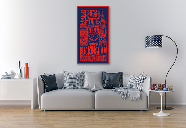 Typographic London Prints Canvas