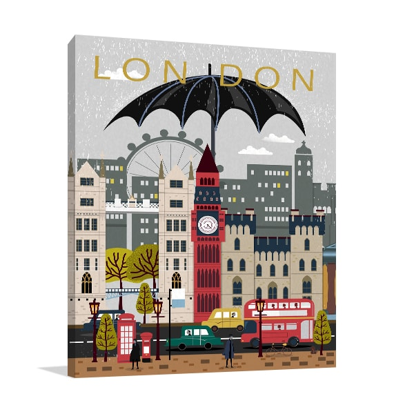 UK Attractions Prints Canvas