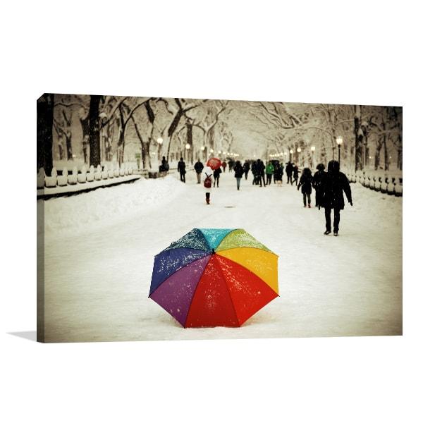 Umbrella in Central Park Canvas Art Prints