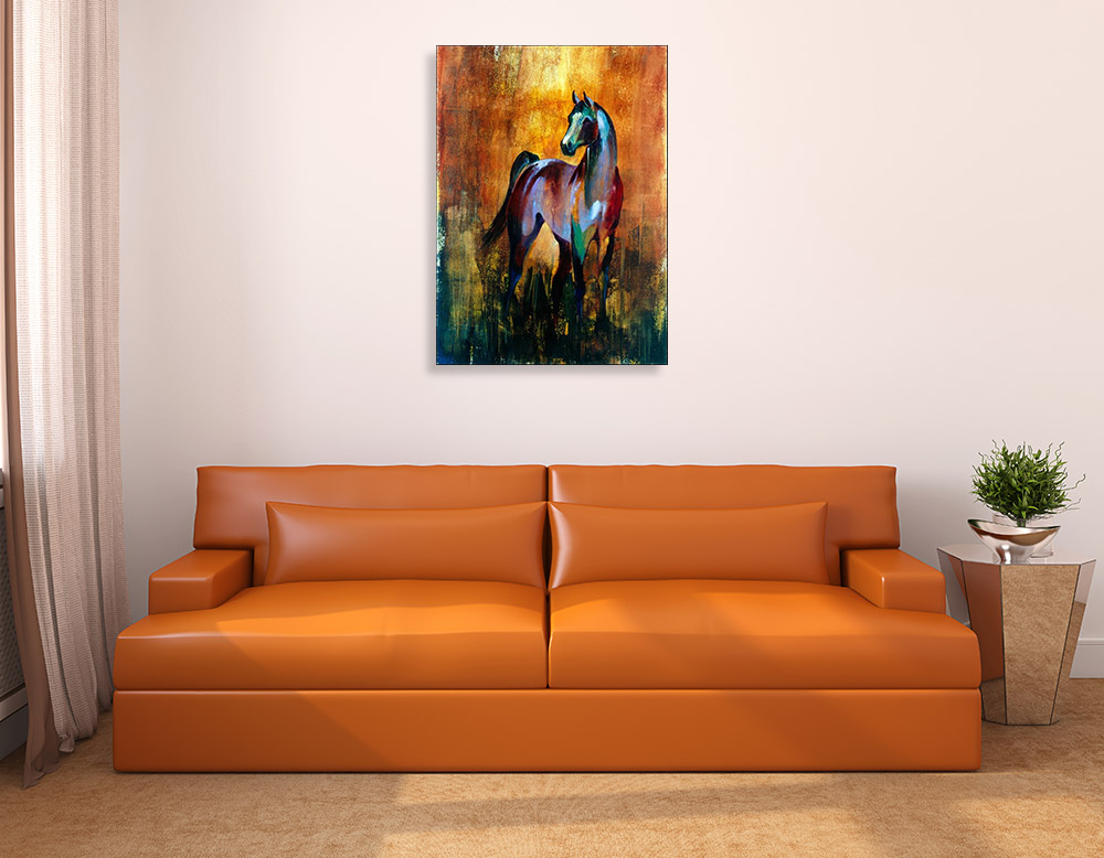 Abstract Brown Horse Canvas Art