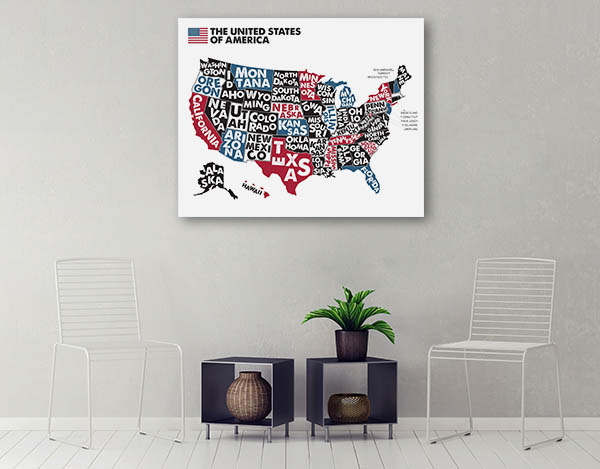 United States of America Map Canvas Prints