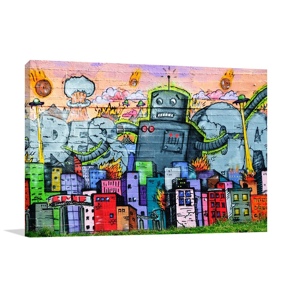 Urban Graffiti Robot Canvas Print