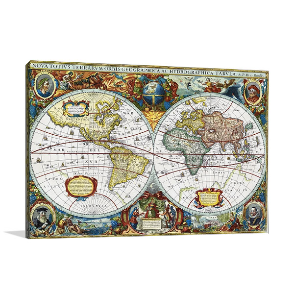 Vintage Global Map Art Print