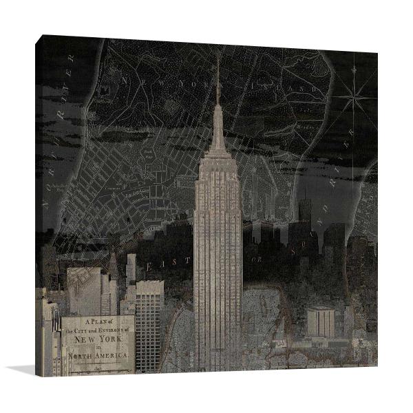 Vintage New York in Black I Print