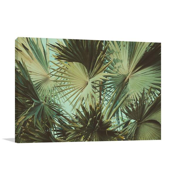 Vintage Palm Leaves Print Art Canvas