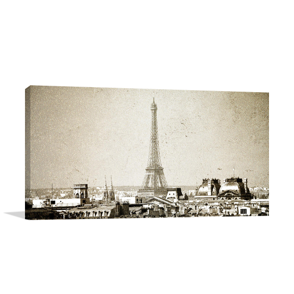 Vintage Paris Skyline Wall Art Print