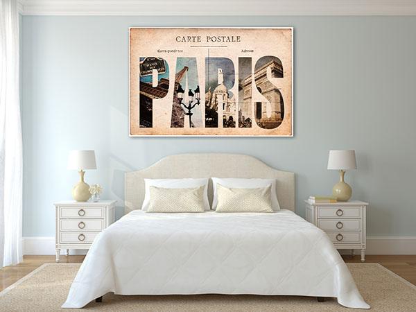Vintage Paris Tourist Spots Canvas Prints