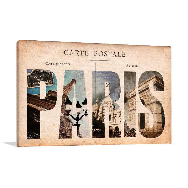 Vintage Paris Tourist Spots Prints Canvas