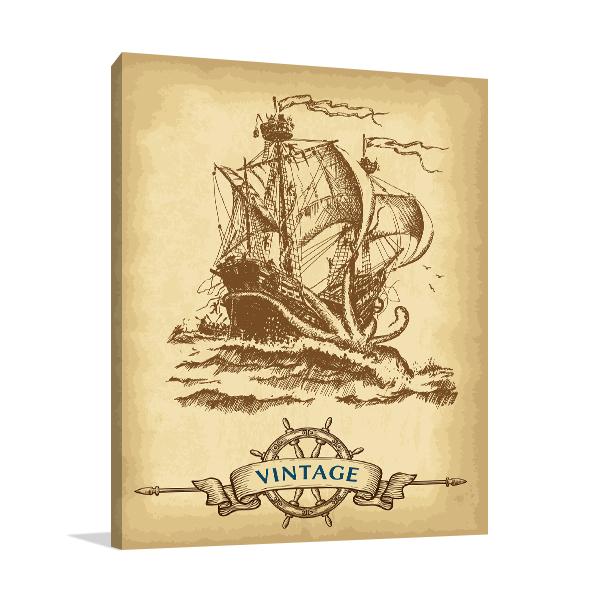 Vintage Sailing Ship Canvas Art Prints