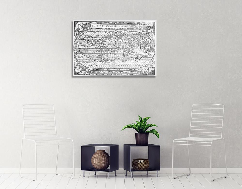 World Map Art Print on Canvas