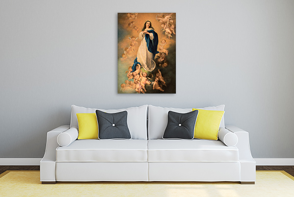 Virgin Mary With Angels Canvas Prints
