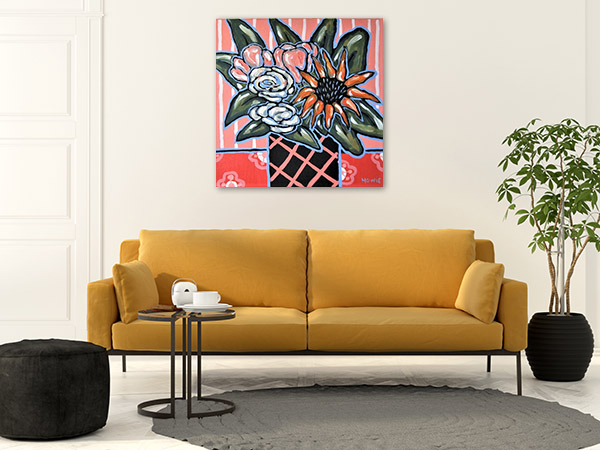 Floral Artwork Hand Paint Canvas