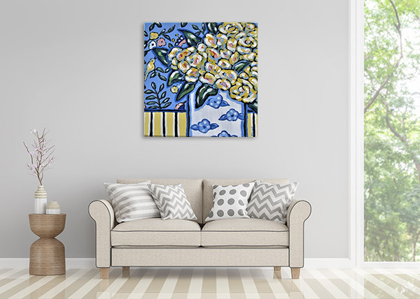 Square Floral Paintings on Canvas