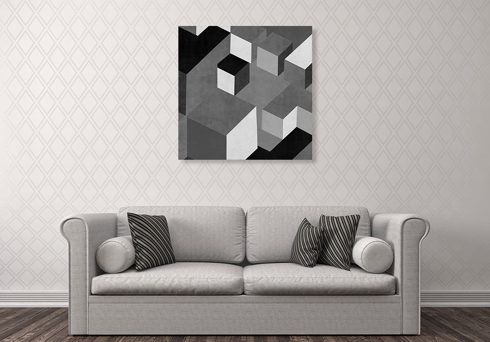 Square Black and White Wall Art Print