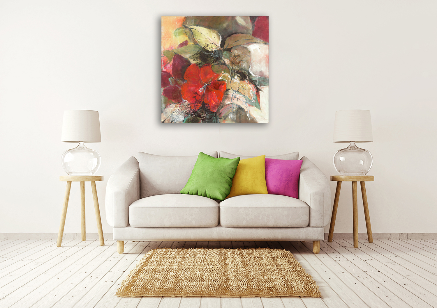 Square Floral Wall Art Print